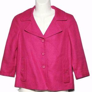 Talbots Linen Jacket Blazer Pink Si…